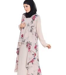 Beige Printed Sleeveless Free Size Shrug For Any Abaya