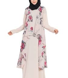 Light Beige Print Two Pieces Set Abaya And Shrug Combo
