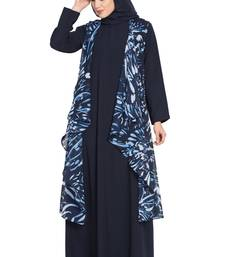 Navy Blue And White Print Two Pieces Set Abaya And Shrug Combo