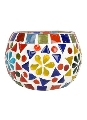 Mosaic Glass Diya Round candle Holder 3 Inches