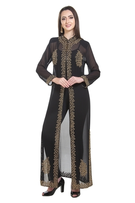 black embroidered georgette ethnic kurtis