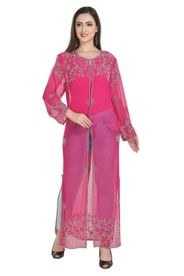 pink embroidered georgette ethnic kurtis