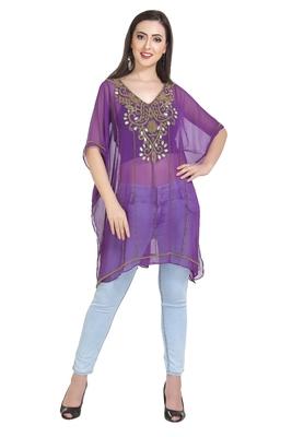 purple embroidered georgette ethnic kurtis