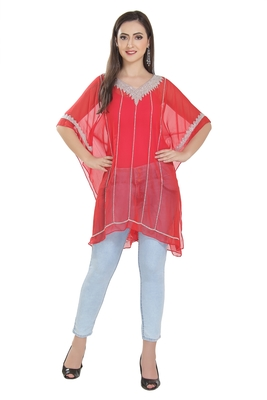 red embroidered georgette ethnic kurtis