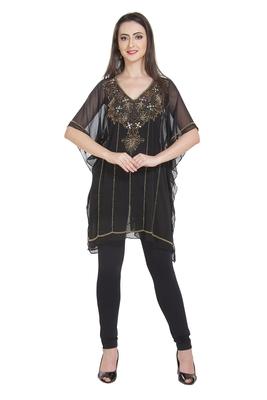 black embroidered georgette ethnic kurtis