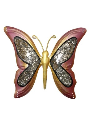 Lal Haveli Wrought Iron Butterfly Wall Sculpture Home Decor Accents 9 X 10 inches