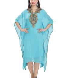 blue embroidered georgette ethnic kurtis