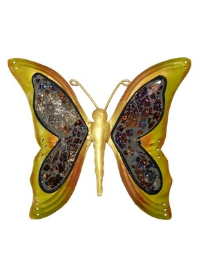 Yellow Handcrafted Wrought Iron Butterfly Wall Decoration 9 X 10 Inches