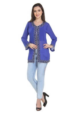 royal blue embroidered georgette ethnic kurtis