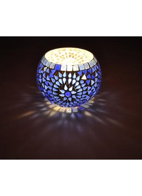 Lal Haveli Rajasthani Handmade Mosaic Glass Diwali Decoration candle Holder 5 Inch