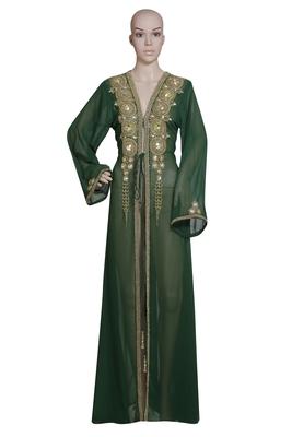 Dark Green Embroidered Georgette Islamic Kaftans