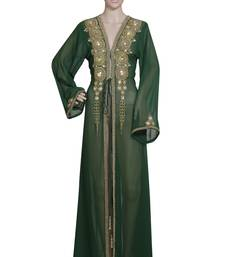 dark green embroidered georgette islamic kaftans