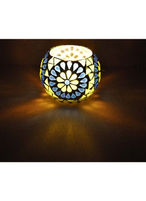 Mosaic Glass Hurricane candle Holder Diwali Gifts Corporate 3 Inches