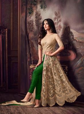 Golden embroidered net Anarkali Suit