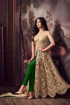 b98868a35e52 Golden embroidered net Anarkali Suit