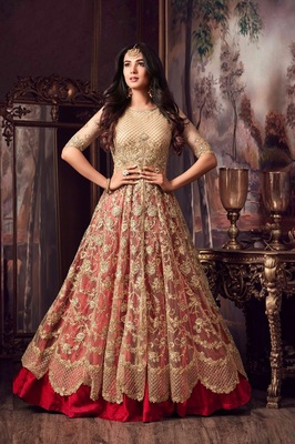 Golden embroidered net Anarkali Suit