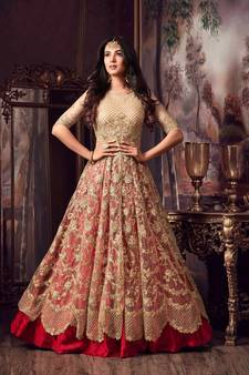 a82c4d256fd89 Golden embroidered net Anarkali Suit