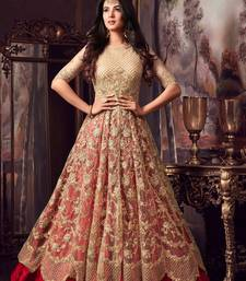 62ca2f0346d52 Golden embroidered net Anarkali Suit