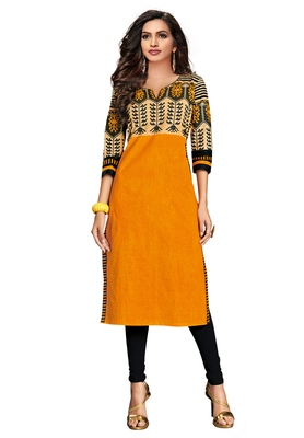 Gold Printed Cotton Cotton Kurtis
