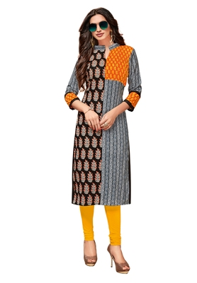 Grey Printed Cotton Kurtis