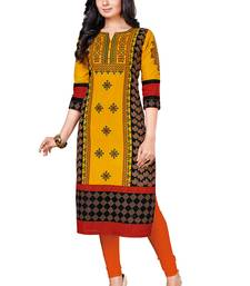 Gold printed cotton cotton-kurtis