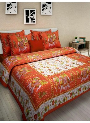 Jaipuri Printed Cotton Bedding Bedsheet With 2 Pillow Cover Queen Size Bedspread 90X108 inches Bedspread