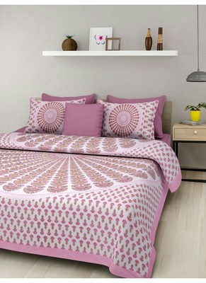 Indian Print Queen Size Cotton Bedding Bedsheet With 2 Pillow Cover Sanganeri Double Size 90 X 108 Bedspread