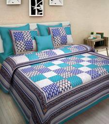 Indian Print Queen Size Cotton Bedding Bedsheet With 2 Pillow Cover Sanganeri Double Size 90X108 Bedspread