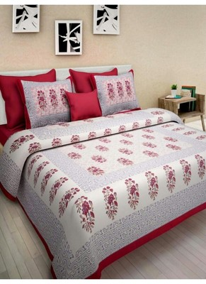 Cotton Indian Print Queen Size Cotton Bedding Bedsheet With 2 Pillow Cover Sanganeri Double Size 90X108 Bedspread