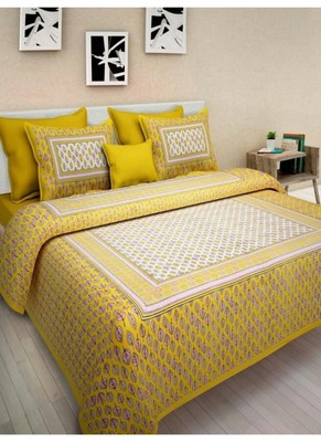 Indian Cotton Print Queen Size Cotton Bedding Bedsheet With 2 Pillow Cover 90 X 108 inches Sanganeri Bedspread