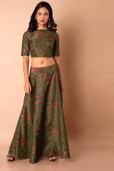500d13e09addf Multicolor printed satin semi stitched lehenga with dupatta. Shop Now