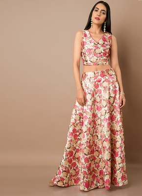 Multicolor printed satin semi stitched lehenga with dupatta