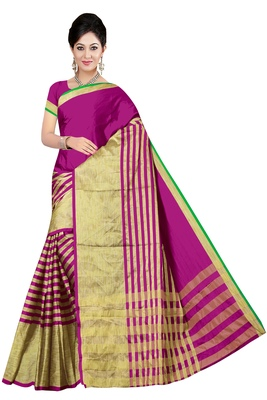 Pink printed poly cotton saree with blouse