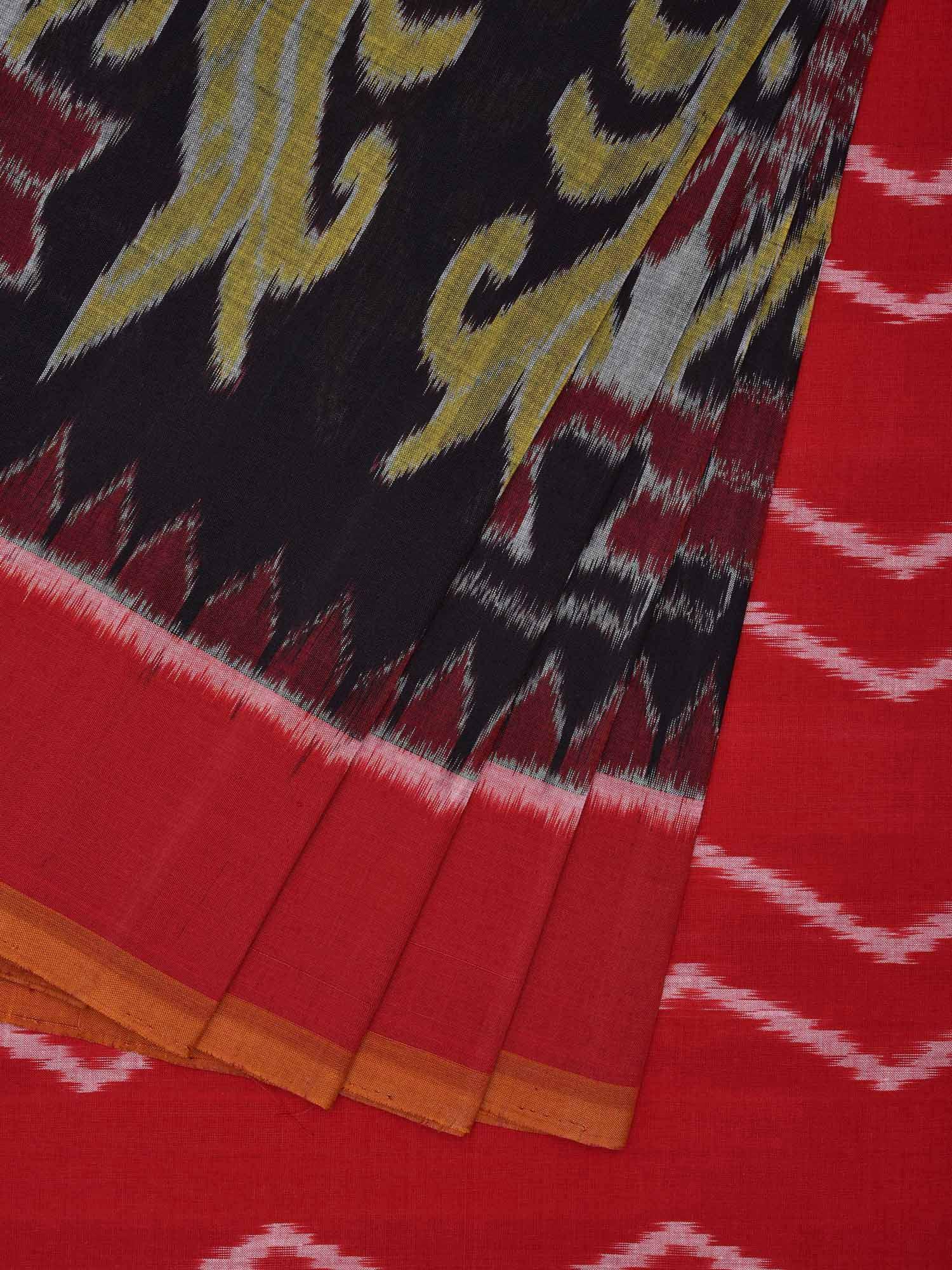 bfbc19dd206feb Red and Black Pochampally Ikat Cotton Handloom Saree with Peacock Design -  Uppada Sarees - 2782062
