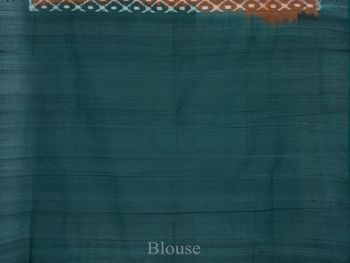 Rust and Green Pochampally Ikat Cotton Handloom Saree with Grill Design