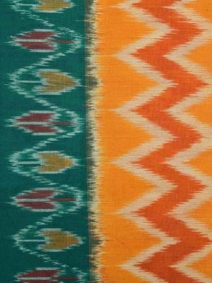 Orange and Green Pochampally Ikat Cotton Handloom Saree with Zig-Zag and Border Design No Blouse