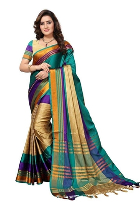 8996a824139d9c Sky blue woven cotton silk saree with blouse - ZELLY - 2782076