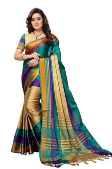 4a62bc7099620 Sky blue woven cotton silk saree with blouse
