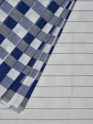 Blue and White Pochampally Ikat Cotton Handloom Saree with Checks Design