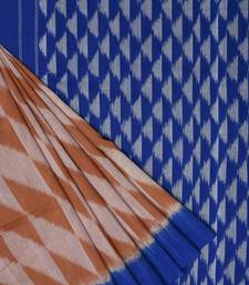 Light Brown and Blue Pochampally Ikat Cotton Handloom Saree with Triangle Pallu Design