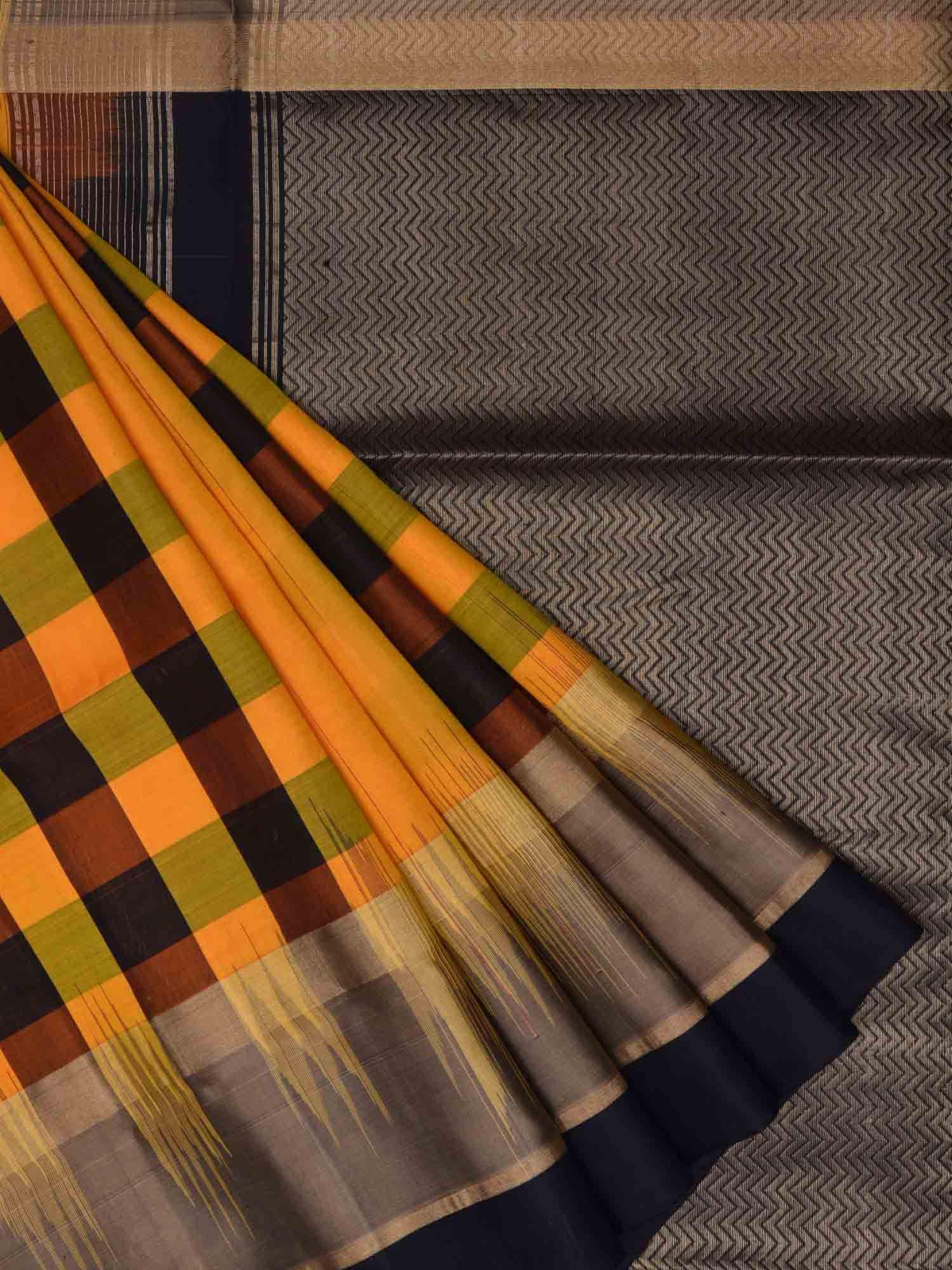 Orange pochampally ikat silk handloom saree with checks design