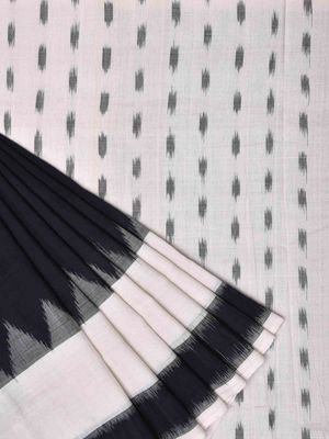 Black and White Pochampally Ikat Cotton Handloom Saree with Temple Border