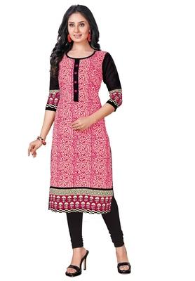 Pink Printed Cotton Cotton Kurtis