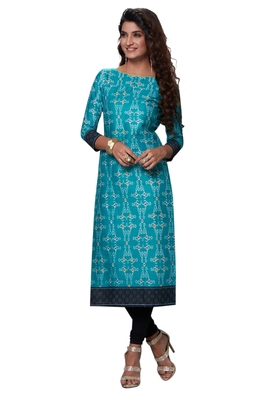 Blue Printed Cotton Cotton Kurtis