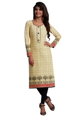 Cream Printed Cotton Cotton Kurtis