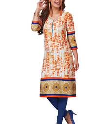 Orange printed cotton cotton-kurtis