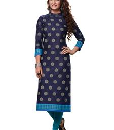 0Vy Blue Printed Cotton Cotton Kurtis