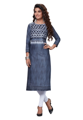 Grey Printed Cotton Cotton Kurtis