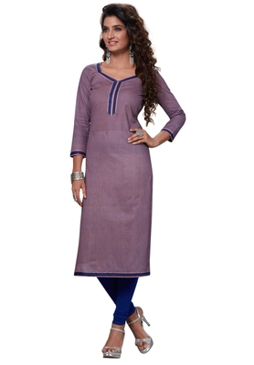 Purple Printed Cotton Cotton Kurtis