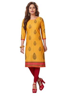 Yellow printed cotton cotton-kurtis
